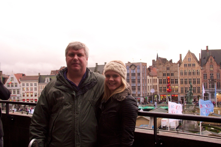 Dad and I overlooking the square-- the only worthwhile thing we got out of this attraction.