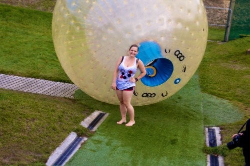 After my first Zorb ride grinning (and posing) like its my job.