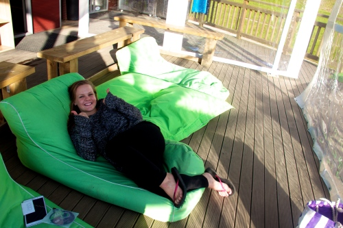 Cozying up on the beanbags post-Zorb.